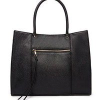 Structured Zip-Pocket Faux Leather Tote