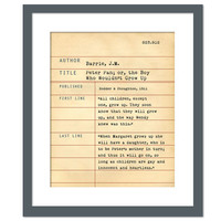 Peter Pan by J.M. Barrie - Library Card Book Art Print - Book Lovers Poster - Library Poster - Book Gift - Dewey Decimal System