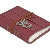 Burgundy Leather Journal with Owl Bookmark