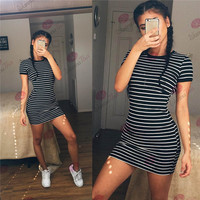 2016 Summer Beach Holiday Stripes Printed Round Necked Short Sleeve Casual Party Playsuit Clubwear Bodycon Boho Dress