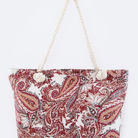 Paisley Beach Tote-Red