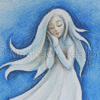 Blue dream: Original watercolor pencils illustration and painting on high quality watercolor paper