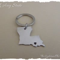 Custom Personalized State Key Chain - USA - Hand Stamped Map - Gift for Her - Gift for Him - Unisex