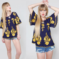 Vintage 70s EMBROIDERED Tunic Top Yellow FLORAL Butterfly Hippie Top Boho Festival Tunic