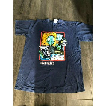 Papa Roach Cereal Robot T Shirt Navy Blue Large|T-Shirts