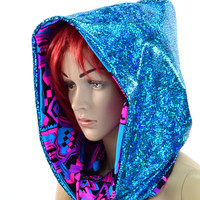 Turquoise Holographic & Aztec Neon Reversible Cowl Hood