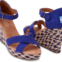 BLUE MIXED ROPE WOMEN'S STRAPPY WEDGES