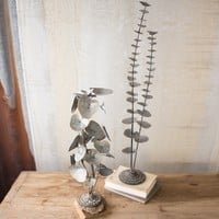 Table Top Leaves with Cast Iron Bases (Set of 2)