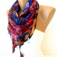 women scarf, cotton fabric scarf ,colorful floral print pattern