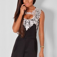 Kira Black and White Lace Playsuit | Pink Boutique