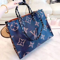 LV ONTHEGO 2019 new big logo printing shoulder bag shopping bag