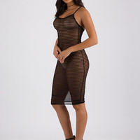 Full Of Sheer Smocked Mesh Midi Dress