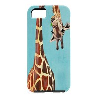 Coco de Paris Giraffe with green leaf Cell Phone Case