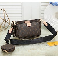 Fashion Leather Chain Crossbody Satchel Set Three Piece
