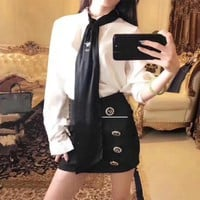 LMFON Dior' Women Temperament Fashion Bee Embroidery Necktie Long Sleeve Shirt Double Row Buttons Short Skirt Set Two-Piece