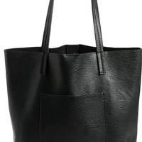 Street Level Faux Leather Pocket Tote | Nordstrom
