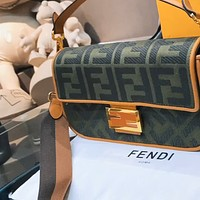 Fendi Simple Embroidery Double F Letter Wide Shoulder Bag French Bag Single Shoulder Crossbody Bag