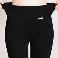 2016 New  Women Office Work Pants&Leggings Ladies Plus Size 6XL High Stretch Pencil Pants Candy Color Female High Waist Trousers