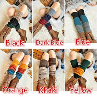 HOT Girls Mixed Color Warmers Knit Boot Cover Socks Knee Stockings @LW009 = 1958327684