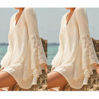 LOOSE LACE TRUMPET LONG-SLEEVED DRESS