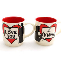 Star Wars (R) Han Solo and Leia I love you I know  Mug Set for Wedding or Anniversary, double sided , mr and mrs , his and hers