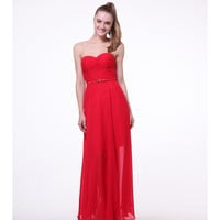 Red Strapless Chiffon Belted Dress 2015 Prom Dresses