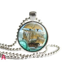 Nautical Pendant Necklace, Pendant with Ships. Gift For Sister, Coworker Christmas Gift, Best Friend Christmas Gift