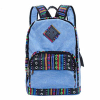 Vintage Tribe Pattern Colorful Wool Knitting Canvas Backpack B