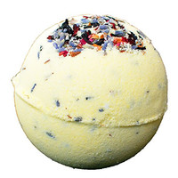 Garden Party Bath Bomb- Pastel Yellow Bath Bomb with Fresh Rose Buds, Lavender Buds, and Hibiscus Petals - Cruelty Free
