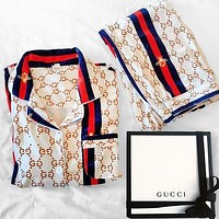 GUCCI Hot Sale Couple Style Full Letters Casual Home Pajamas Set