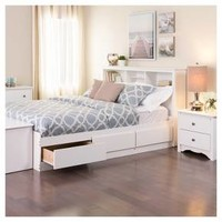 6 drawer Platform Storage Bed - Full / Double - White - Prepac : Target