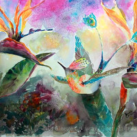 Hummingbird and Birds of Paradise Flowers Watercolor Original