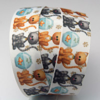 Cute Cat and Gold Fish on White Printed Grosgrain Ribbon
