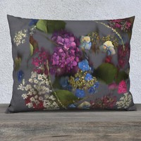 Pillow Cover - Flowered Pillow Cover - Floral Pillowcase - Accent Pillow - Throw Pillow Cover - Flower Collage - Purple and Blue Hydrangea