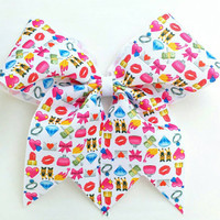 Material girl Emoji cheer bow, kisses cheer bow with ponytail holder, pink hearts bow, cheerleading bow, baton, dance, 8 inch bow, emoji bow