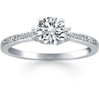 Diamond Accent Engagement Ring in 14K White Gold