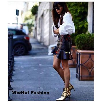 Women Casual Patent Leather Gold/Silver Side Zipper Ankle Boots