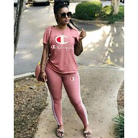 Champion Fashionable Women Leisure Print Top Pants Trousers Sport Set Two-Piece Pink