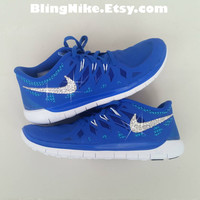 Bling Nike Free 5.0 With Swarovski Crysral Rhinestones - Blibg Nikes, Bling Shoes, Blinged Out Nikes
