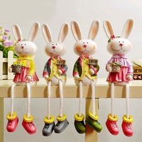 Lovely Rabbit Dolls Resin Decoration Gifts Home Decor [6282555334]