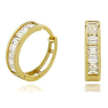 Women's 14k Yellow Gold 4.0 mm Wide 2.0 ct Simulated Diamond Hoop Earrings