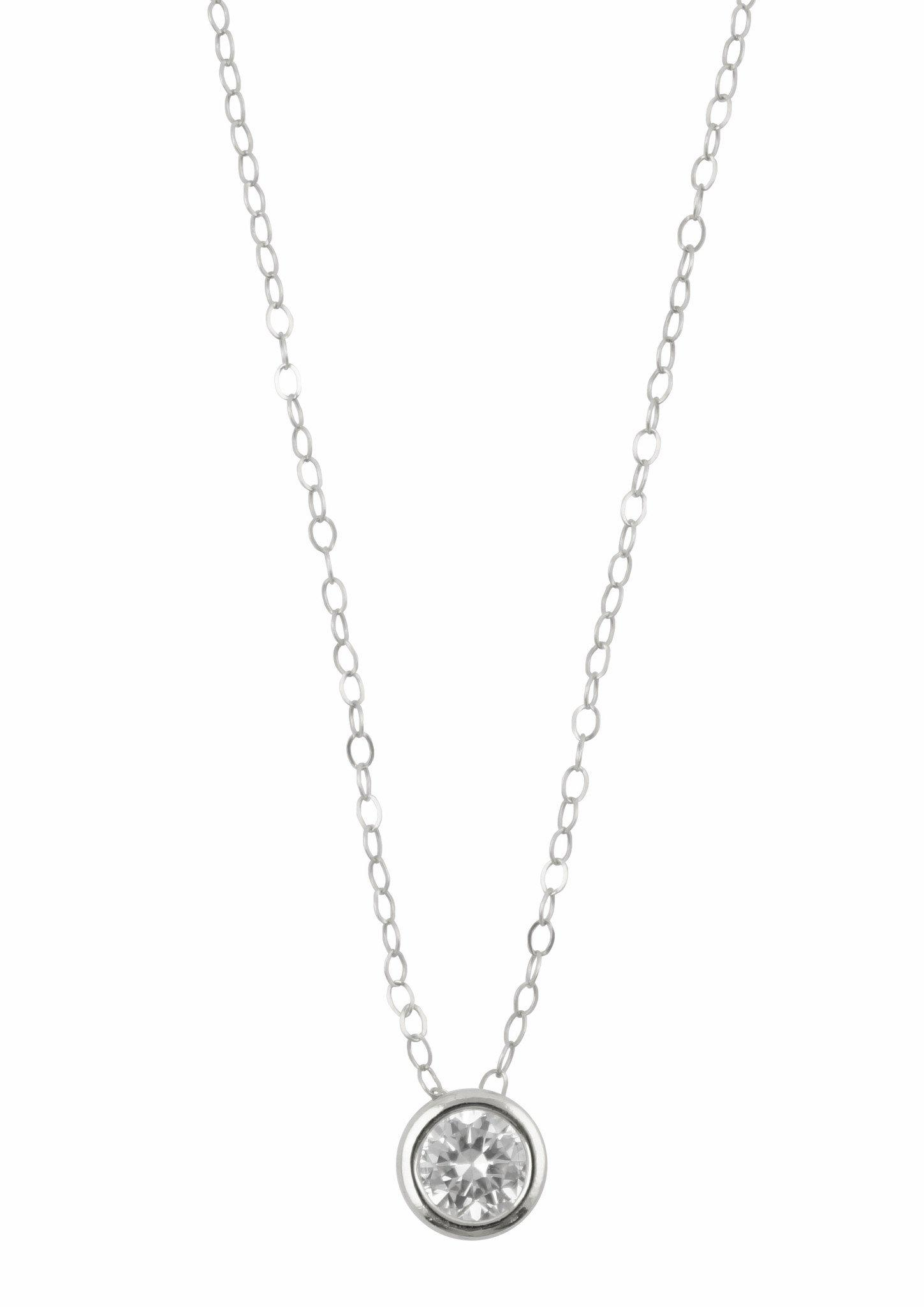 Image of Floating Diamond Silver Necklace