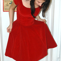 Red Radiant Velvet Party Dress Bombshell 1950s Valentine's Day Dress Mid Century Marvel Prom Dress XS/S