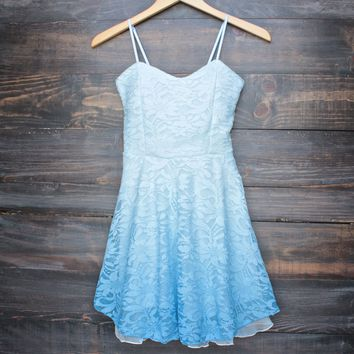 glits & glams lacy floral dip dye fit and flare dress - powder blue