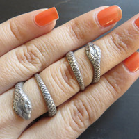 Adjustable Snake Twist Midi Ring Above The Knuckle Wrap Silver Plated Brass Midiring Finger Cuff Jewelry