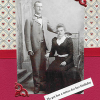 Quirky Red Birthday Card for Tattoo Loving Couples - Vintage Victorian Style Collage Art - What Ink Should She Get?