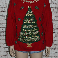 90s Oversize Sweater Jumper Red Gold Ugly Christmas Trees Holiday Party 80s Hipster Grunge Boxy Knit Long Tunic Dress Bow M L