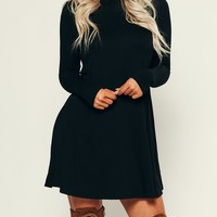 Don't Mock Me Turtle Neck Dress (Black)