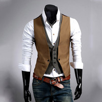 Slim Fit Two Layered Look Men's Fashion Vest