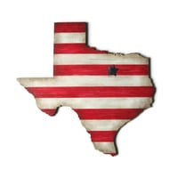 Any (Texas) State Map wooden wall decor hand painted in red and white stripes, blue city star or city heart, made to order state wall art